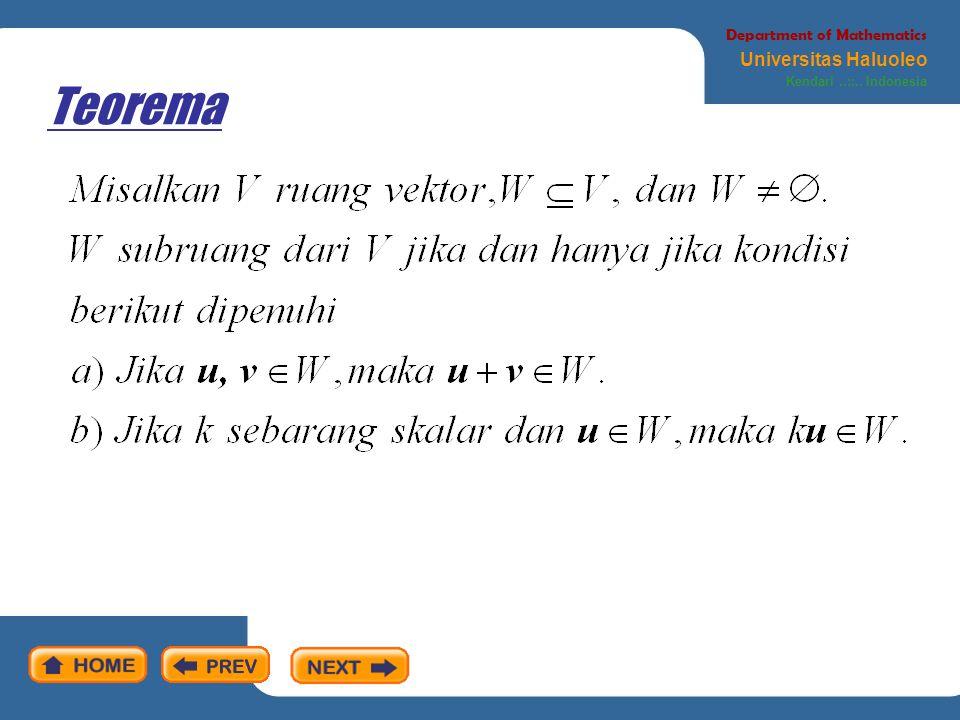 Definisi Department of Mathematics Universitas Haluoleo Kendari..::.. Indonesia