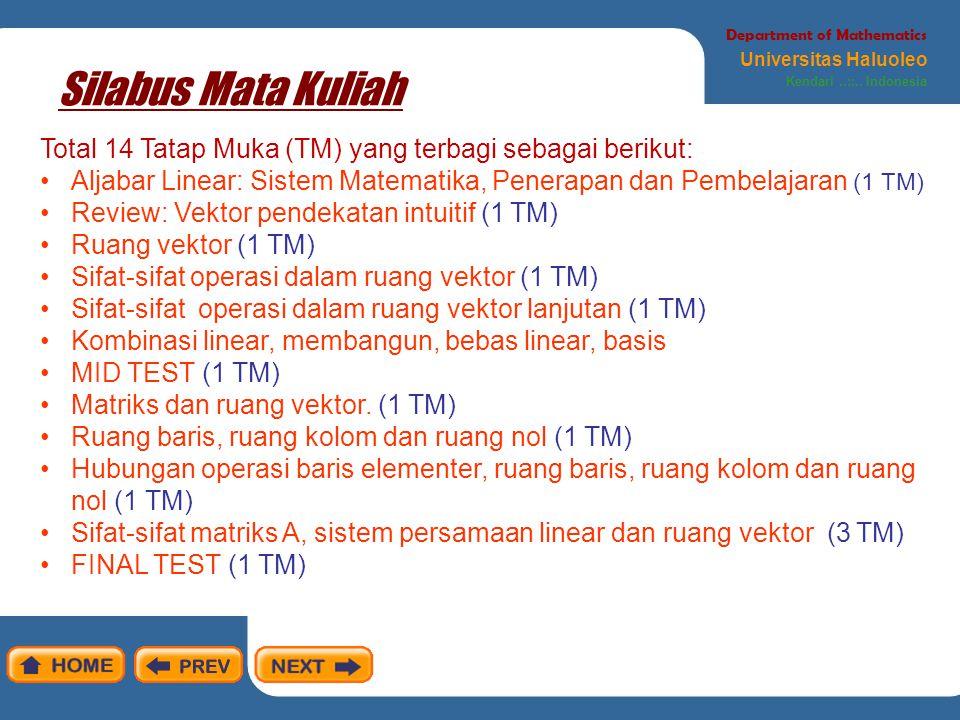 Department of Mathematics Universitas Haluoleo Kendari..::..