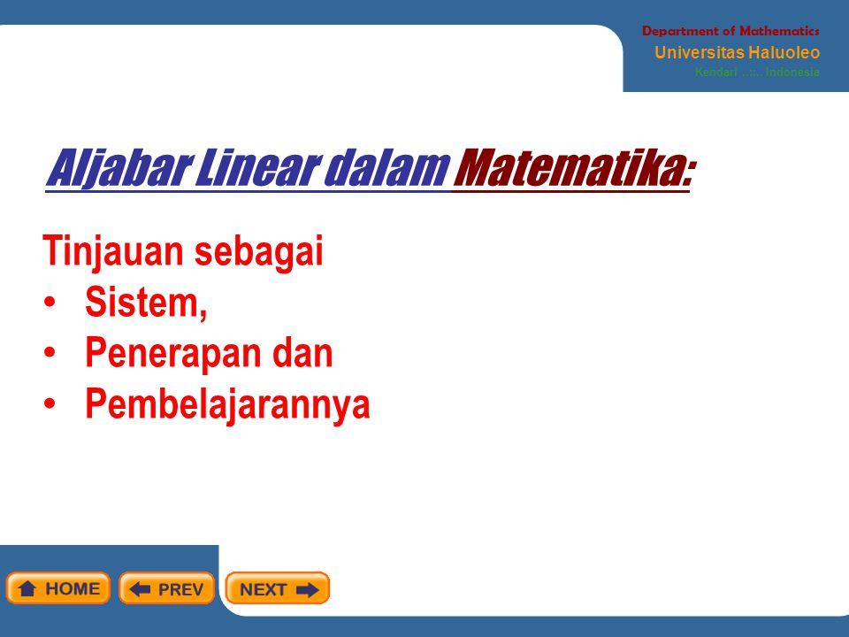 Pandangan umum tentang matematika Department of Mathematics Universitas Haluoleo Kendari..::..