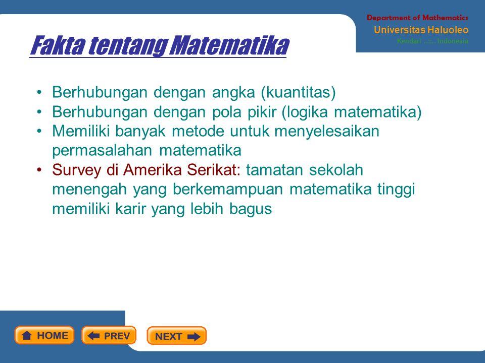 Fakta tentang Matematika Department of Mathematics Universitas Haluoleo Kendari..::..