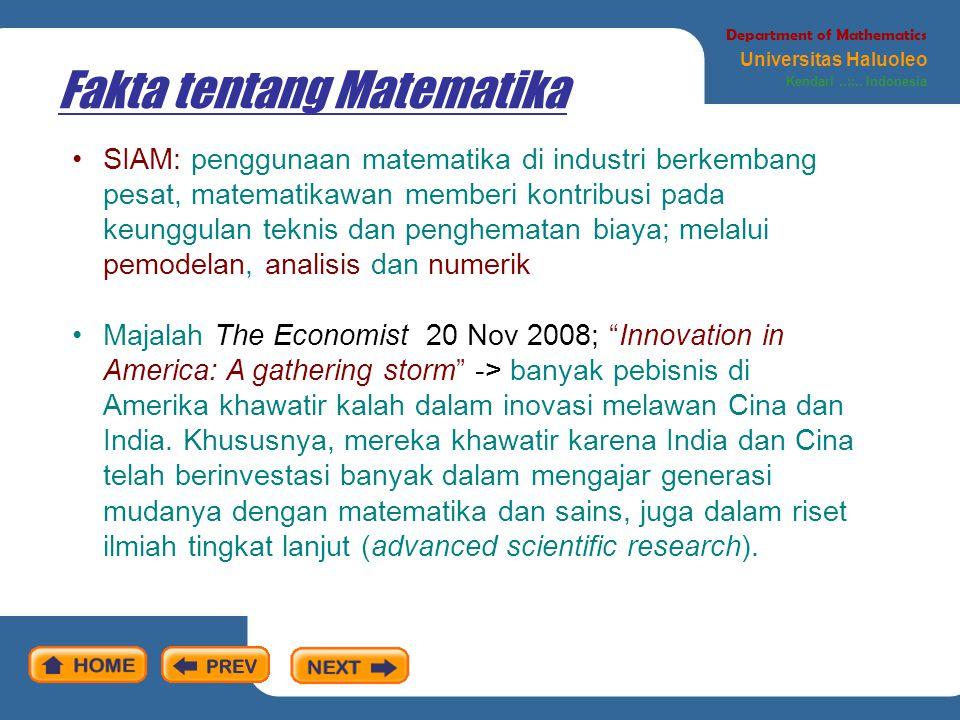 Matematika: cara pandang kita Department of Mathematics Universitas Haluoleo Kendari..::..