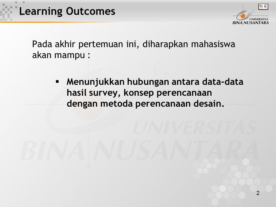 2 Learning Outcomes Pada akhir pertemuan ini, diharapkan mahasiswa akan mampu :  Menunjukkan hubungan antara data-data hasil survey, konsep perencanaan dengan metoda perencanaan desain.