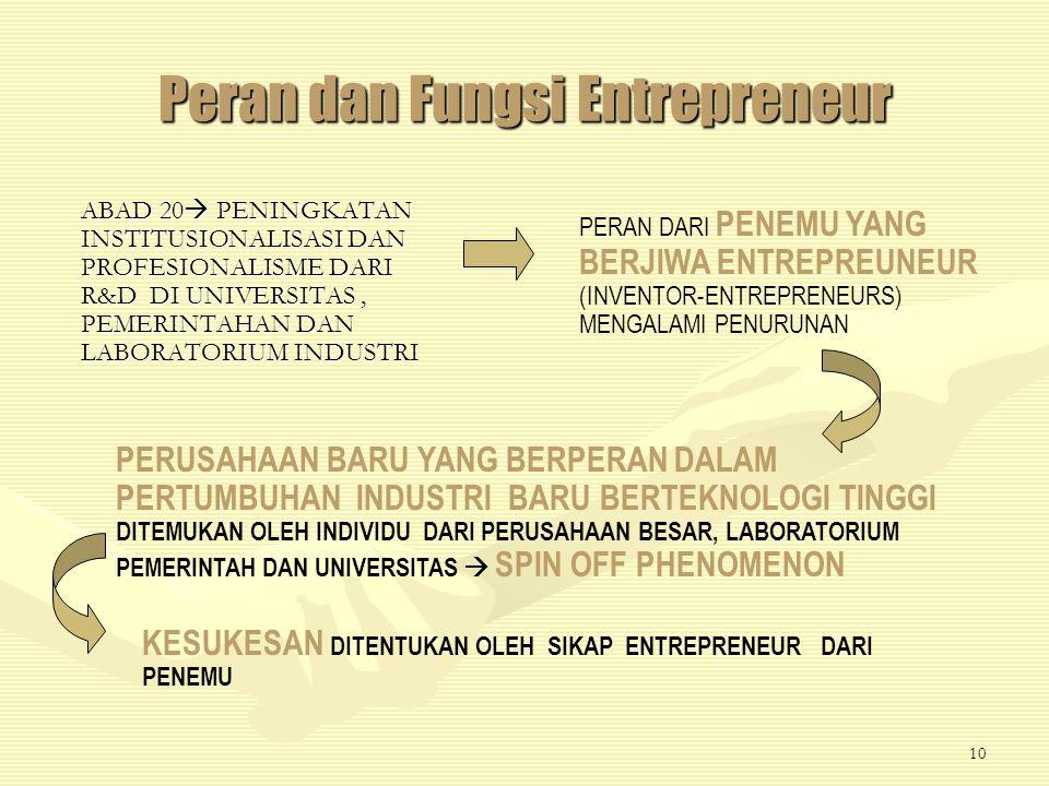 9 Entrepreneur PERTUMBUHAN INDUSTRI TEKNOLOGI BARU DALAM ABAD 19 DAN AWAL ABAD 20 USAHA DARI PENEMU YANG BERJIWA ENTREPREUNEUR (INVENTOR-ENTREPRENEURS) INDIVIDU YANG MERUPAKAN ILMUWAN YANG KREATIF DAN ATAU ENGINEER DAN BISNISMAN YANG KREATIF NOBEL (SWEDIA, DINAMIT), LINDE (JERMAN, LIQUID AIR DISTILATION), BRINS (PRANCIS, OKSIGEN INDUSTRI), SOLVAY (BELGIA, SODA AMONIA), PERKIN (INGGRIS, ANILENE DYES), BELL (SKOTLANDIA-AMERIKA UTARA, TELEPON), EDISON ( AMERIKA SERIKAT, LISTRIK), DAN MARCONI (ITALI-INGGRIS, RADIO)