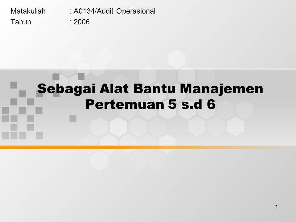 1 Sebagai Alat Bantu Manajemen Pertemuan 5 s.d 6 Matakuliah: A0134/Audit Operasional Tahun: 2006