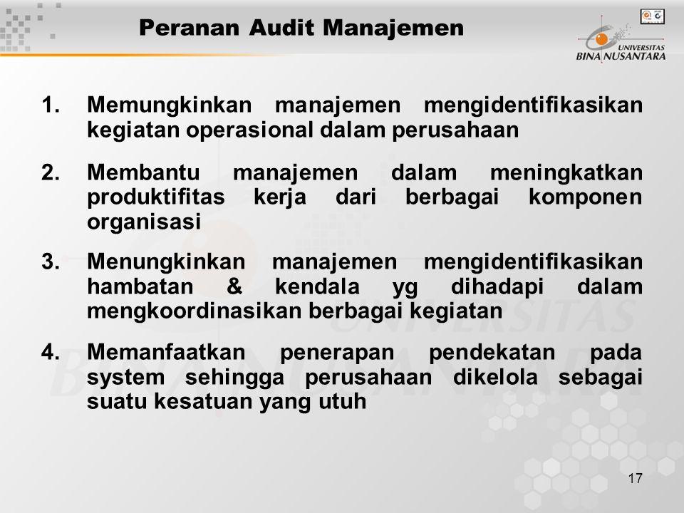 17 Peranan Audit Manajemen 1.Memungkinkan manajemen mengidentifikasikan kegiatan operasional dalam perusahaan 2.Membantu manajemen dalam meningkatkan produktifitas kerja dari berbagai komponen organisasi 3.Menungkinkan manajemen mengidentifikasikan hambatan & kendala yg dihadapi dalam mengkoordinasikan berbagai kegiatan 4.Memanfaatkan penerapan pendekatan pada system sehingga perusahaan dikelola sebagai suatu kesatuan yang utuh