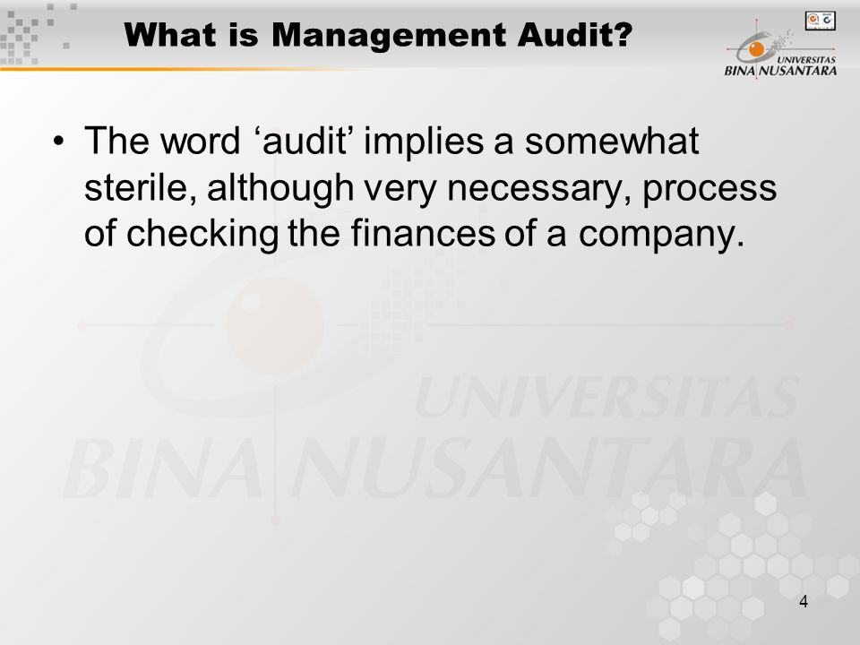 15 The users of a Management Audit are extending the concept of due diligence to include an audit of the individuals comprising the team and organisation of the acquired company.