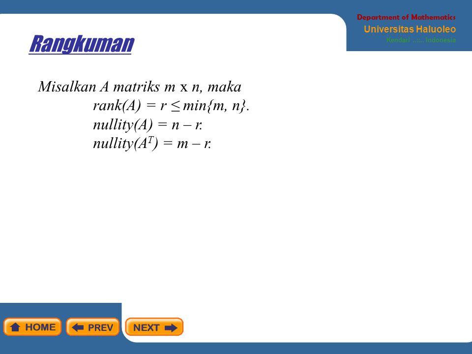 Rangkuman Department of Mathematics Universitas Haluoleo Kendari..::.. Indonesia Misalkan A matriks m x n, maka rank(A) = r ≤ min{m, n}. nullity(A) =