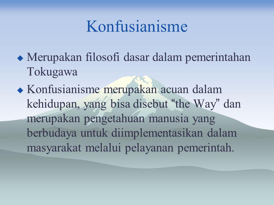 """Konfusianisme  Merupakan filosofi dasar dalam pemerintahan Tokugawa  Konfusianisme merupakan acuan dalam kehidupan, yang bisa disebut """" the Way """" da"""