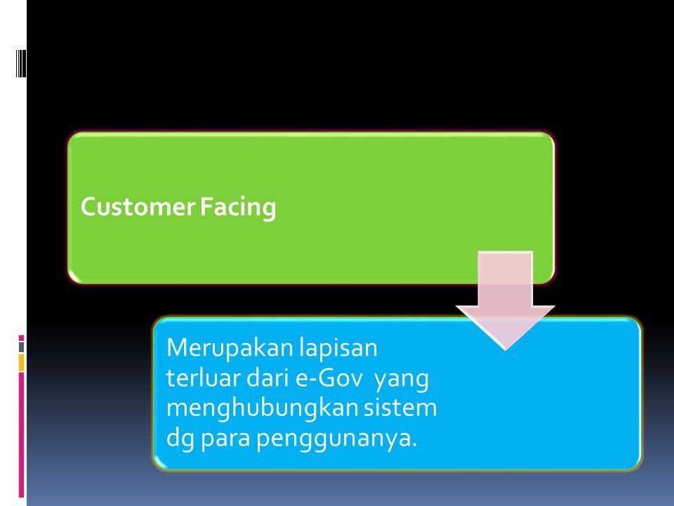 Customer Facing Merupakan lapisan terluar dari e-Gov yang menghubungkan sistem dg para penggunanya.