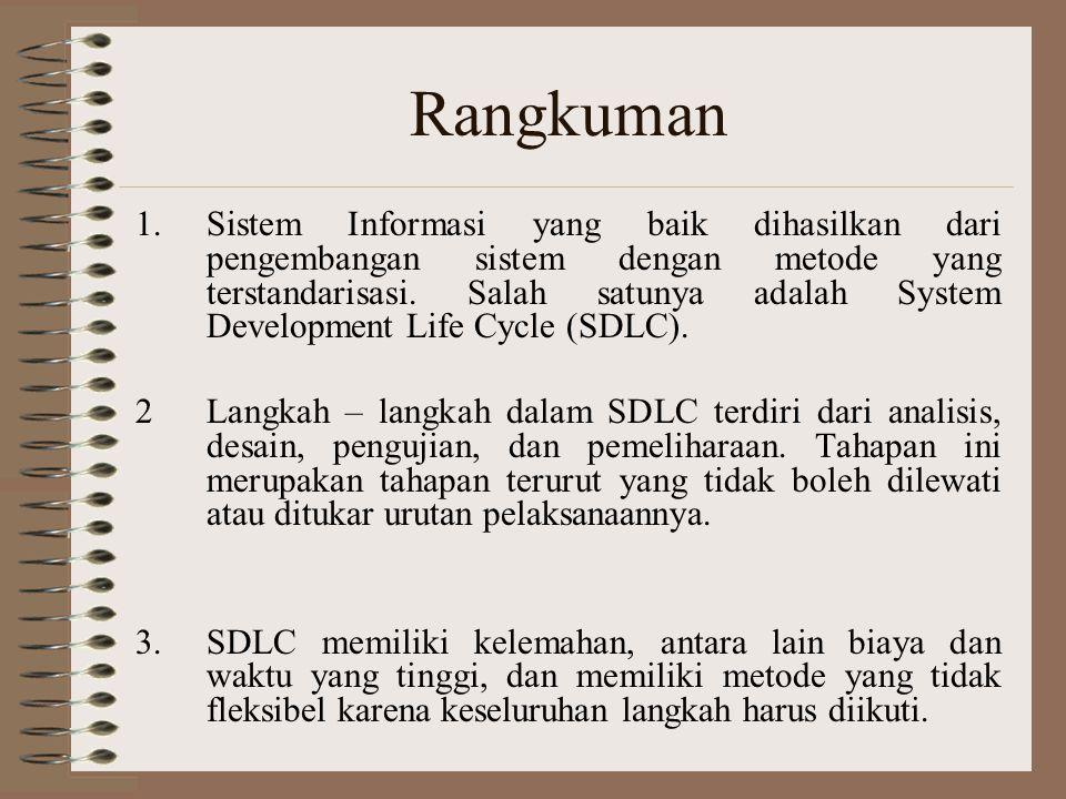 Rangkuman 1.Sistem Informasi yang baik dihasilkan dari pengembangan sistem dengan metode yang terstandarisasi. Salah satunya adalah System Development