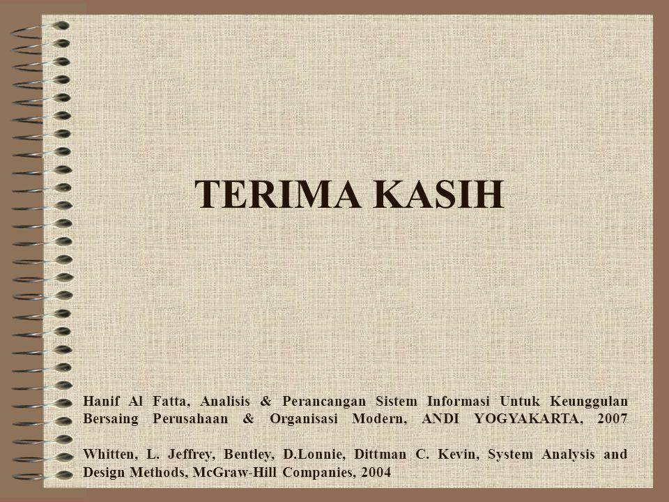 TERIMA KASIH Hanif Al Fatta, Analisis & Perancangan Sistem Informasi Untuk Keunggulan Bersaing Perusahaan & Organisasi Modern, ANDI YOGYAKARTA, 2007 W