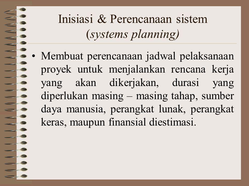 Inisiasi & Perencanaan sistem (systems planning) Membuat perencanaan jadwal pelaksanaan proyek untuk menjalankan rencana kerja yang akan dikerjakan, d