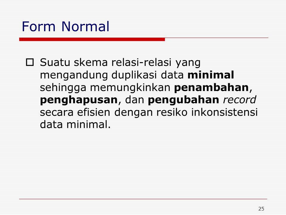 25 Form Normal  Suatu skema relasi-relasi yang mengandung duplikasi data minimal sehingga memungkinkan penambahan, penghapusan, dan pengubahan record