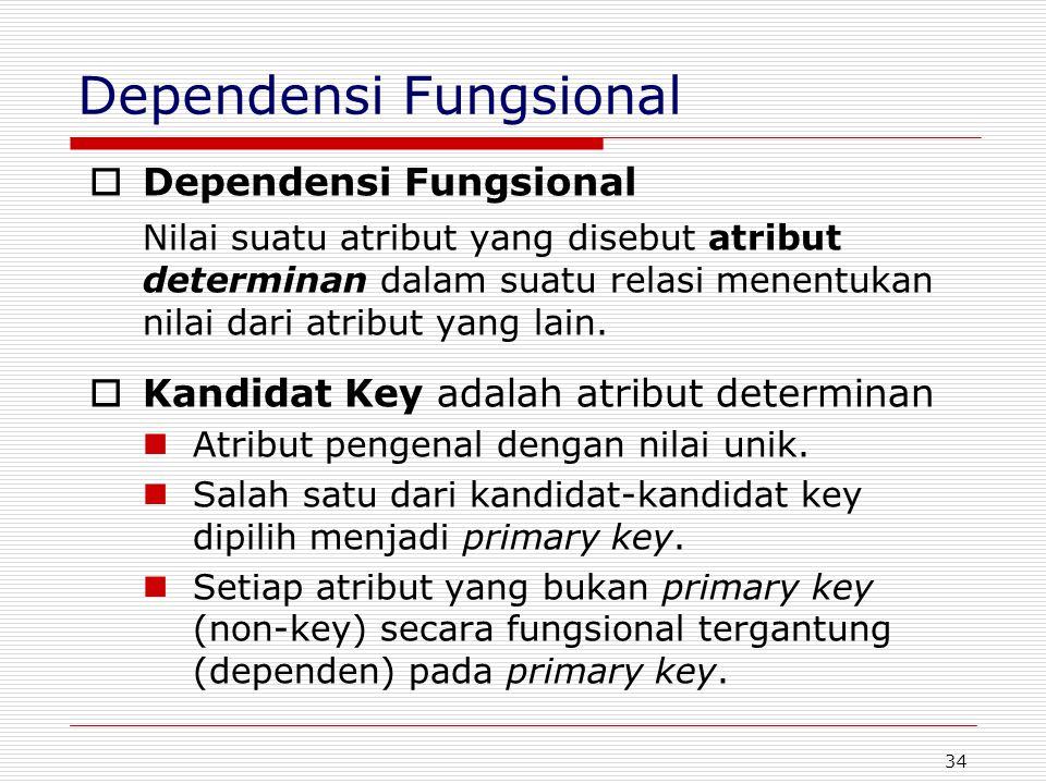34 Dependensi Fungsional  Dependensi Fungsional Nilai suatu atribut yang disebut atribut determinan dalam suatu relasi menentukan nilai dari atribut