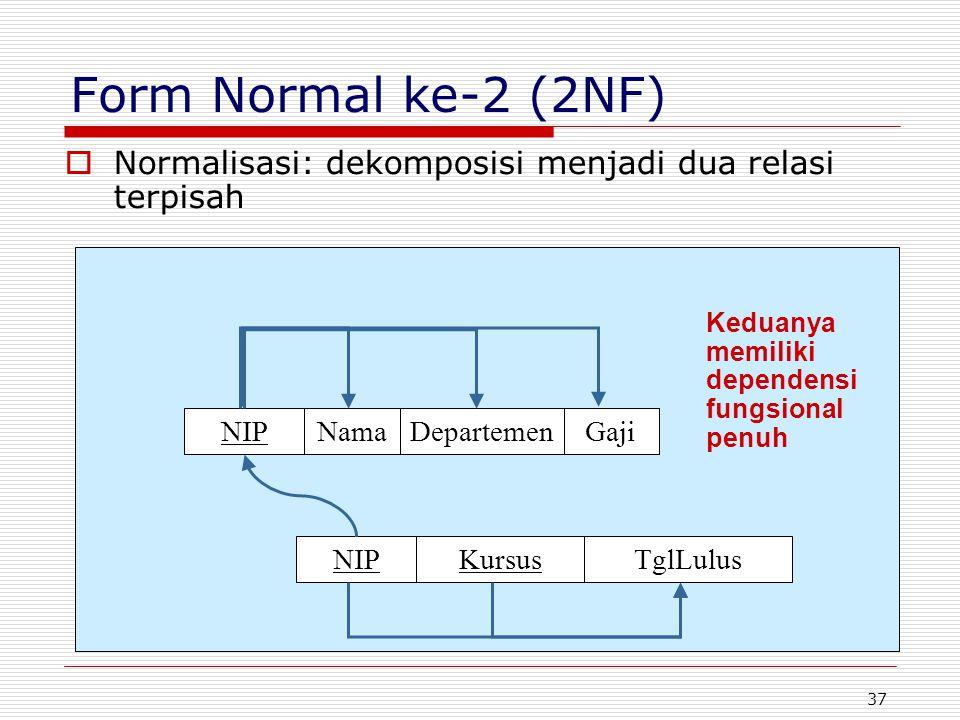 37  Normalisasi: dekomposisi menjadi dua relasi terpisah KursusTglLulusNIP GajiDepartemenNama Keduanya memiliki dependensi fungsional penuh Form Norm