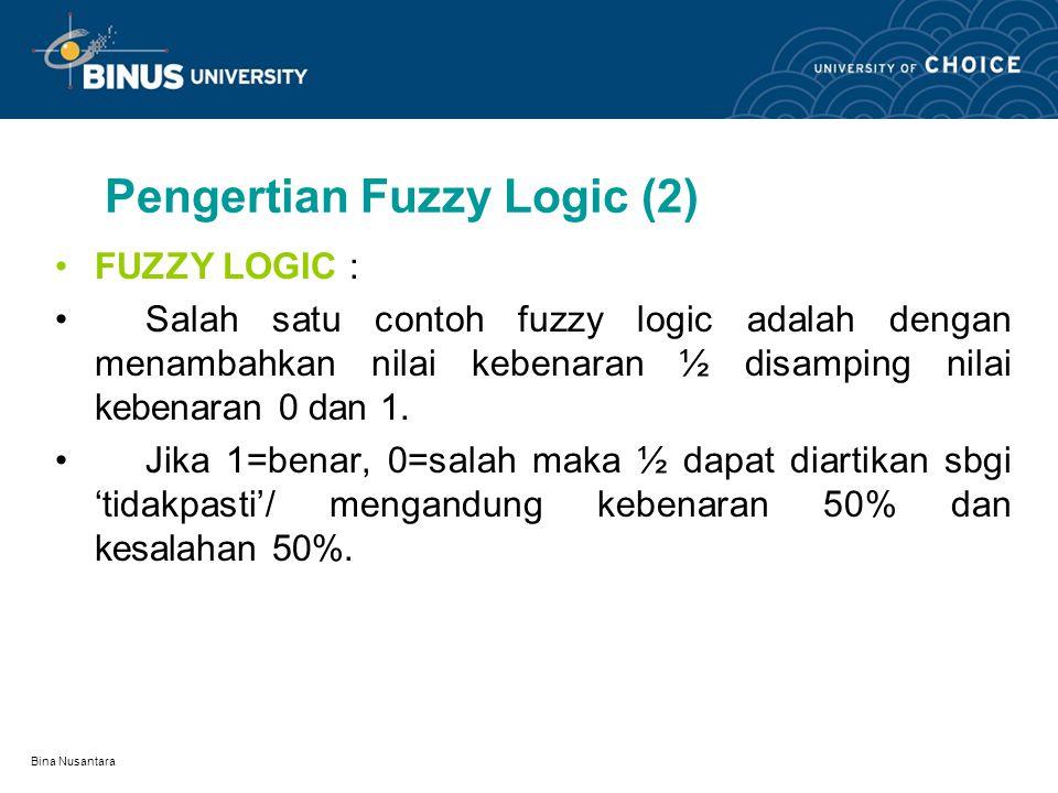 Bina Nusantara Pengertian Fuzzy Logic (2) FUZZY LOGIC : Salah satu contoh fuzzy logic adalah dengan menambahkan nilai kebenaran ½ disamping nilai kebenaran 0 dan 1.