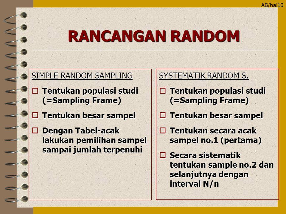 AB/hal10 RANCANGAN RANDOM SIMPLE RANDOM SAMPLING oTentukan populasi studi (=Sampling Frame) oTentukan besar sampel oDengan Tabel-acak lakukan pemiliha