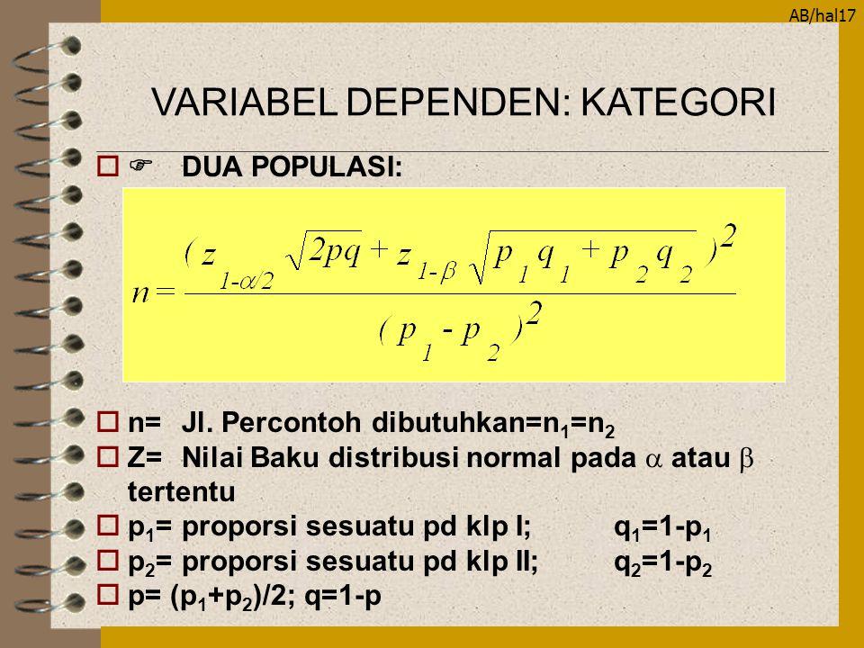 AB/hal17  DUA POPULASI: on=Jl. Percontoh dibutuhkan=n 1 =n 2  Z=Nilai Baku distribusi normal pada  atau  tertentu op 1 =proporsi sesuatu pd klp I
