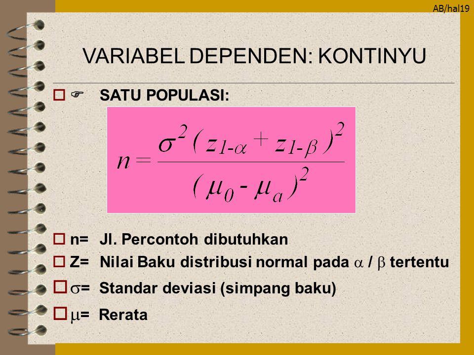AB/hal19  SATU POPULASI: on=Jl. Percontoh dibutuhkan  Z=Nilai Baku distribusi normal pada  /  tertentu o  = Standar deviasi (simpang baku) o  =
