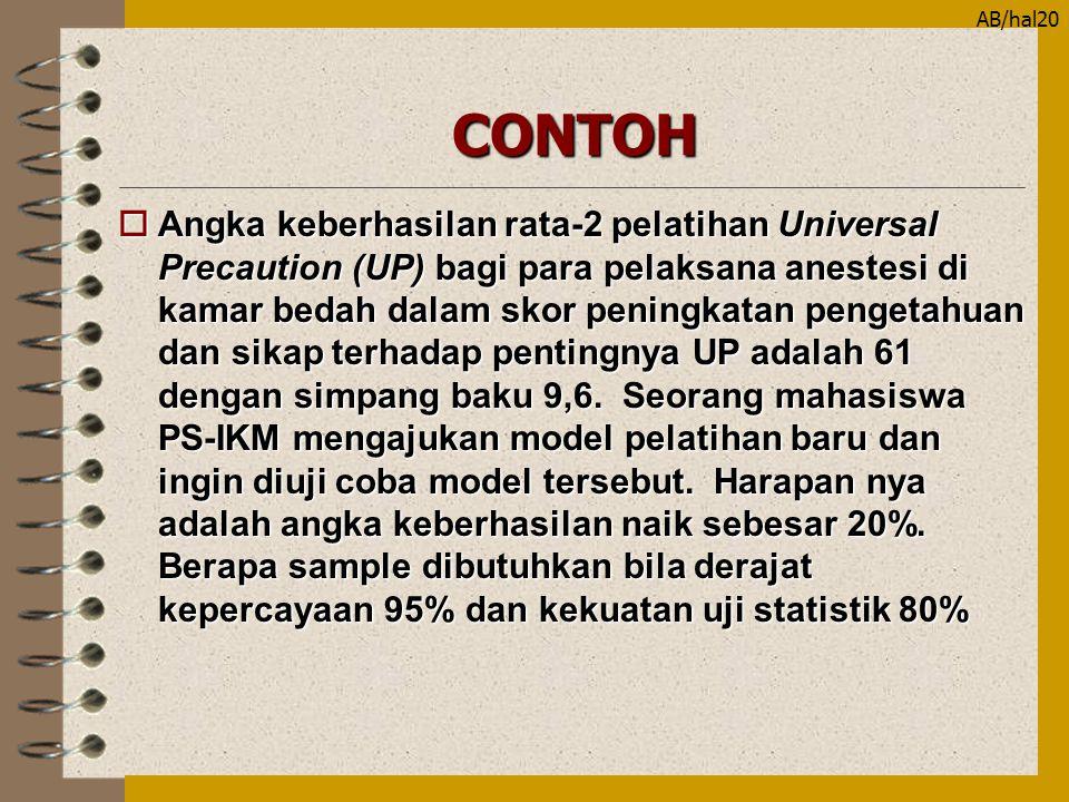 AB/hal20CONTOH oAngka keberhasilan rata-2 pelatihan Universal Precaution (UP) bagi para pelaksana anestesi di kamar bedah dalam skor peningkatan penge