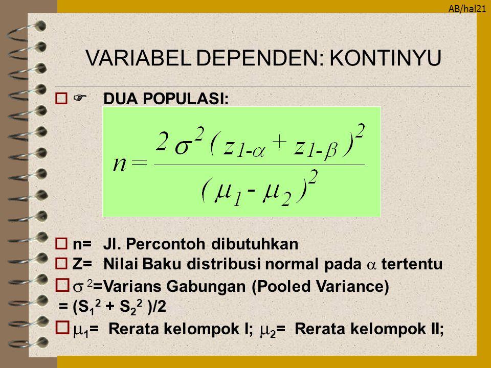 AB/hal21  DUA POPULASI: on=Jl. Percontoh dibutuhkan  Z=Nilai Baku distribusi normal pada  tertentu o  2 =Varians Gabungan (Pooled Variance) =(S 1