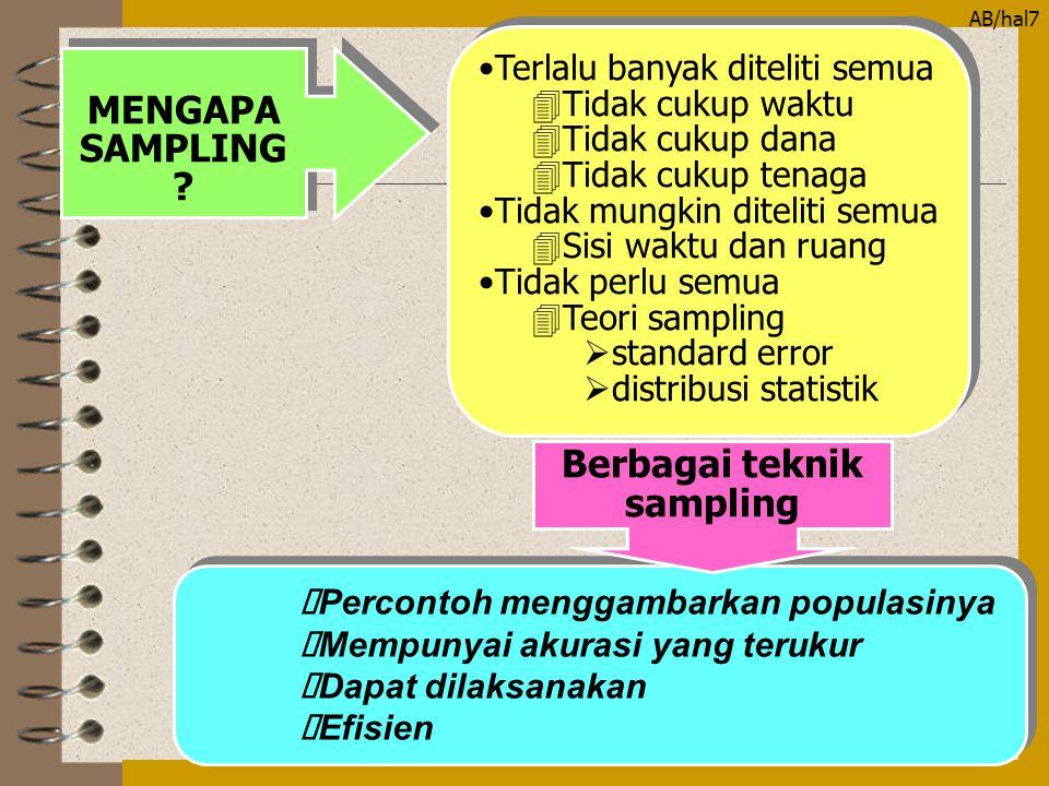 AB/hal8 PROSEDUR PENGAMBILAN SAMPEL PROSEDUR PENGAMBILAN SAMPEL Menentukan populasi penelitian UNIT ANALISIS BATAS LUAS POPULASI (SAMPLING FRAME) KARAKTERISTIK UNIT ANALISIS Menentukan cara pengambilan sampel Menentukan besarnya sampel Memilih sampel Menentukan tujuan studi 2 3 4 5 1