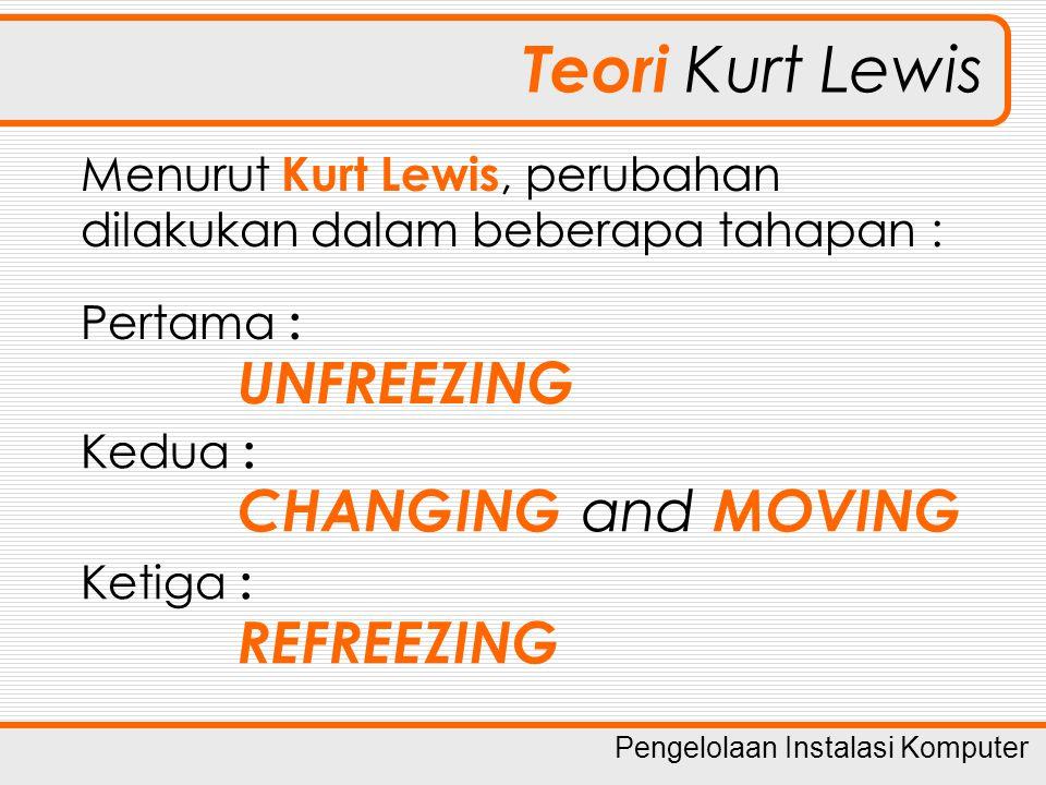 Pengelolaan Instalasi Komputer Teori Kurt Lewis Menurut Kurt Lewis, perubahan dilakukan dalam beberapa tahapan : Pertama : UNFREEZING Kedua : CHANGING