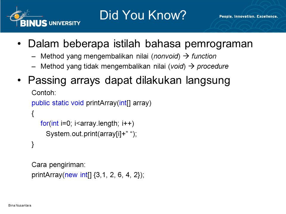 Bina Nusantara Did You Know.