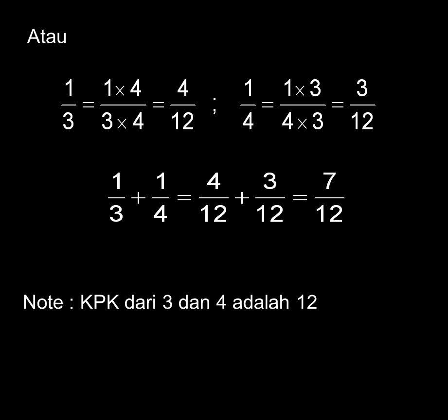 24 Penjumlahan dan Pengurangan Pecahan b). Dengan penyebut berbeda Ingat bahwa 1 dan 1 diubah menjadi 4 dan 3. 3 4 12 12 Karena kita menyamakan penyeb