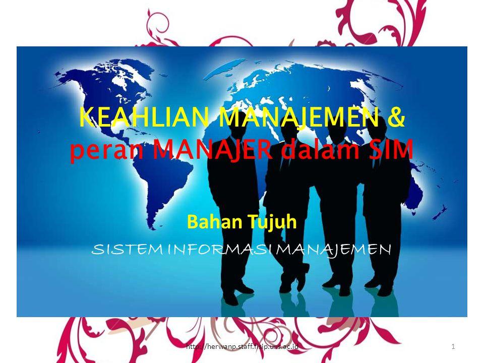 KEAHLIAN MANAJEMEN & peran MANAJER dalam SIM Bahan Tujuh SISTEM INFORMASI MANAJEMEN 1http://herwanp.staff.fisip.uns.ac.id