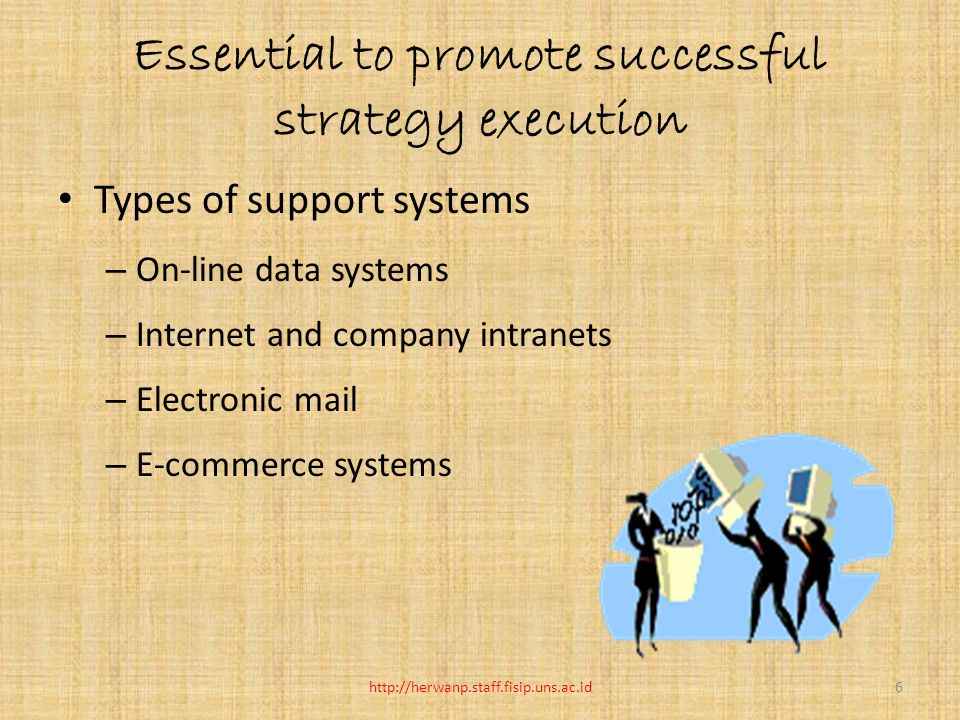 Essential to promote successful strategy execution Types of support systems – On-line data systems – Internet and company intranets – Electronic mail