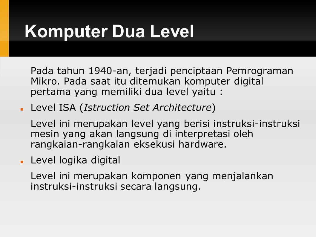 Komputer Dua Level Pada tahun 1940-an, terjadi penciptaan Pemrograman Mikro.