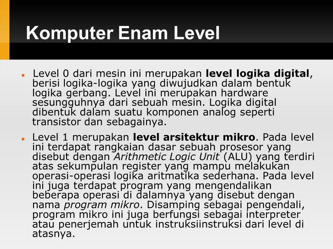 Komputer Enam Level Level 0 dari mesin ini merupakan level logika digital, berisi logika-logika yang diwujudkan dalam bentuk logika gerbang.