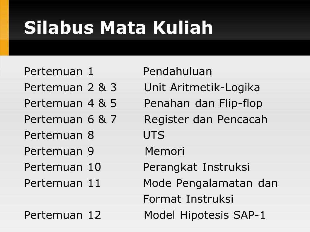 Silabus Mata Kuliah Pertemuan 1 Pendahuluan Pertemuan 2 & 3 Unit Aritmetik-Logika Pertemuan 4 & 5 Penahan dan Flip-flop Pertemuan 6 & 7 Register dan Pencacah Pertemuan 8 UTS Pertemuan 9 Memori Pertemuan 10 Perangkat Instruksi Pertemuan 11 Mode Pengalamatan dan Format Instruksi Pertemuan 12 Model Hipotesis SAP-1