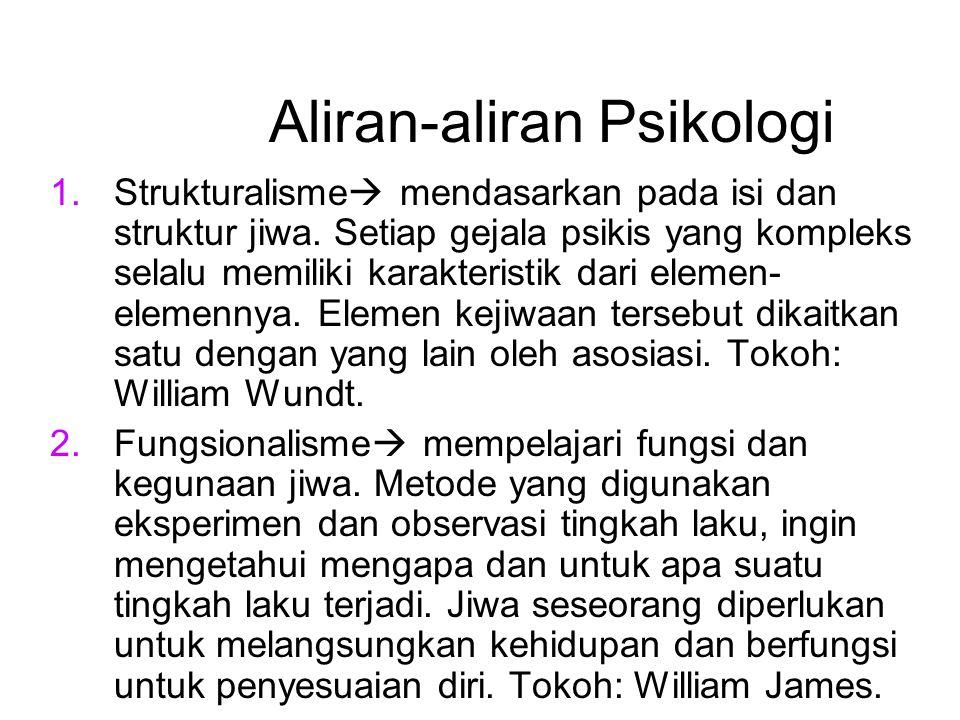 Aliran-aliran Psikologi 1.Strukturalisme  mendasarkan pada isi dan struktur jiwa. Setiap gejala psikis yang kompleks selalu memiliki karakteristik da