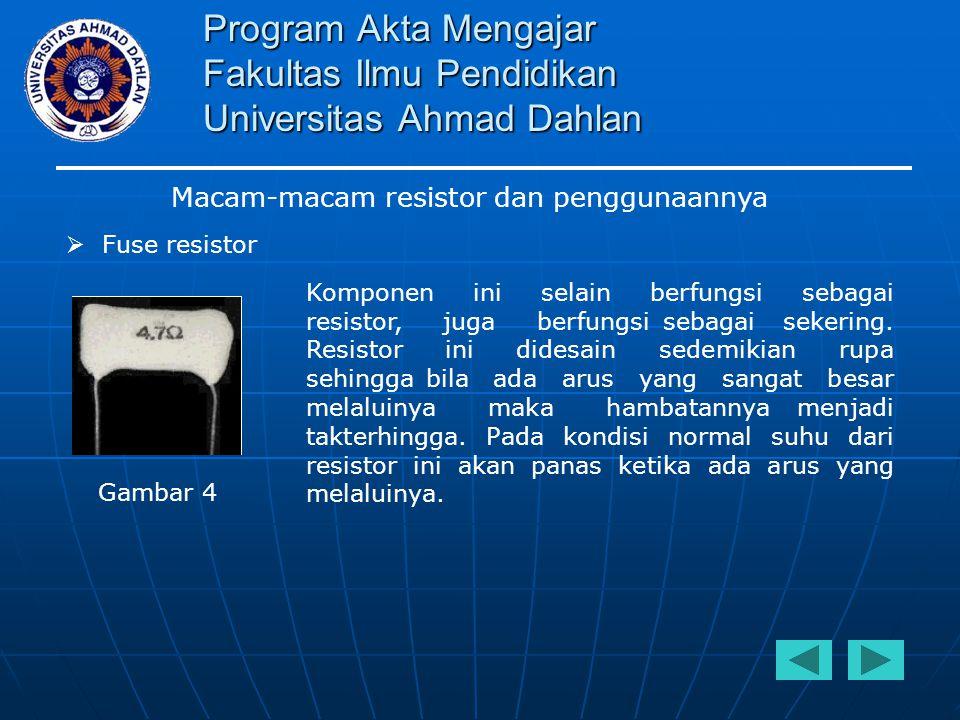 Program Akta Mengajar Fakultas Ilmu Pendidikan Universitas Ahmad Dahlan Macam-macam resistor dan penggunaannya  Fuse resistor Komponen ini selain ber