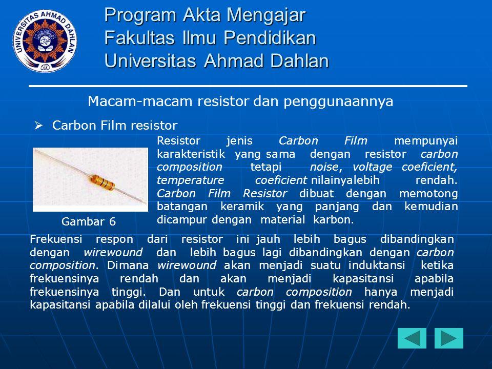 Program Akta Mengajar Fakultas Ilmu Pendidikan Universitas Ahmad Dahlan Macam-macam resistor dan penggunaannya  Carbon Film resistor Resistor jenis C