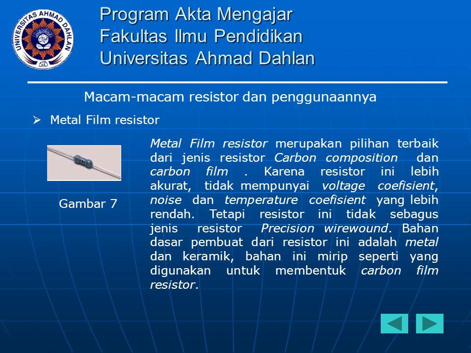 Program Akta Mengajar Fakultas Ilmu Pendidikan Universitas Ahmad Dahlan Macam-macam resistor dan penggunaannya  Metal Film resistor Metal Film resist
