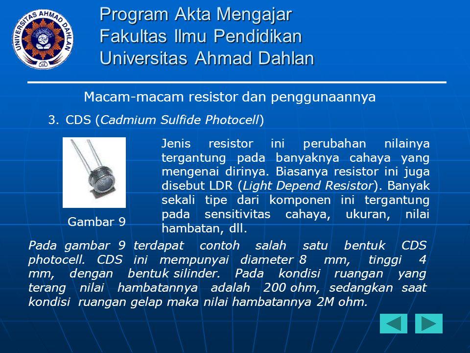 Program Akta Mengajar Fakultas Ilmu Pendidikan Universitas Ahmad Dahlan Macam-macam resistor dan penggunaannya 3.CDS (Cadmium Sulfide Photocell) Jenis