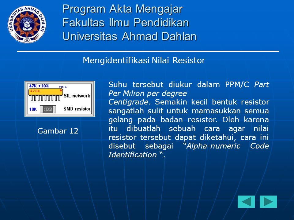 Program Akta Mengajar Fakultas Ilmu Pendidikan Universitas Ahmad Dahlan Mengidentifikasi Nilai Resistor Suhu tersebut diukur dalam PPM/C Part Per Mili