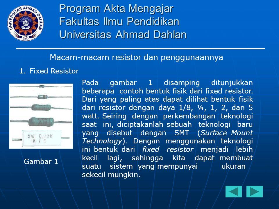 Program Akta Mengajar Fakultas Ilmu Pendidikan Universitas Ahmad Dahlan Macam-macam resistor dan penggunaannya 1.Fixed Resistor Tipe atau jenis resistor saat ini sangat beragam, tergantung dari pemakain untuk suatu sistem elektronika yang akan kita rancang.
