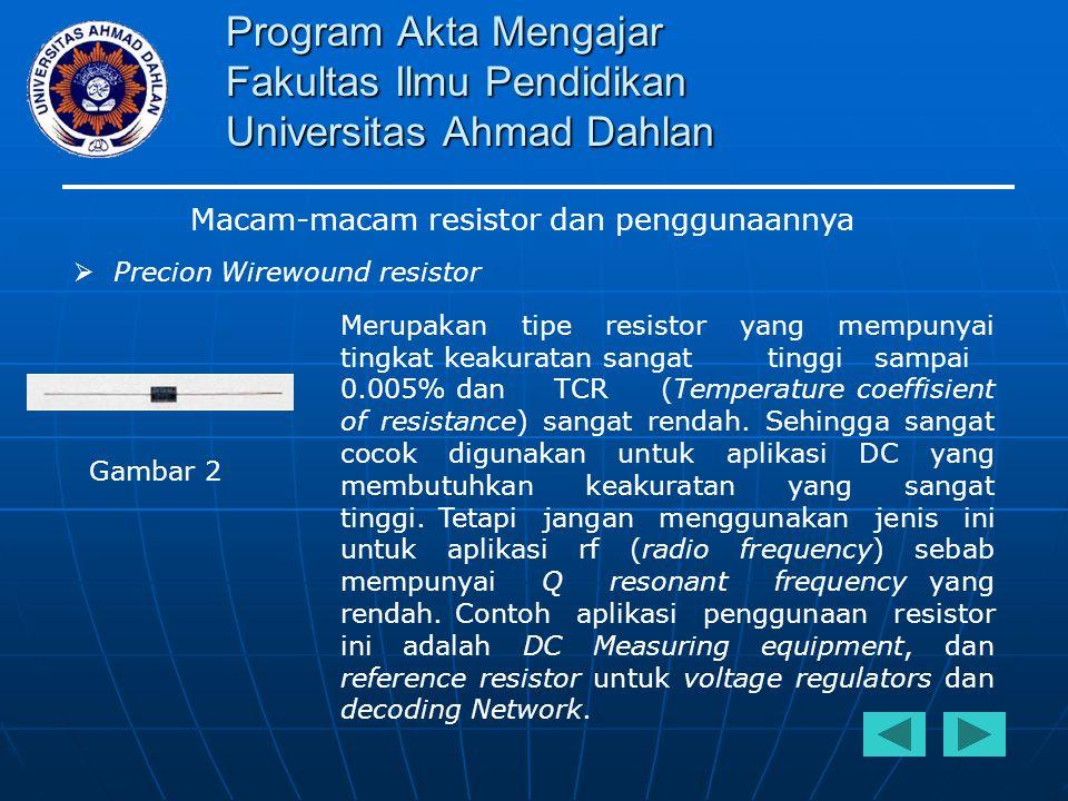 Program Akta Mengajar Fakultas Ilmu Pendidikan Universitas Ahmad Dahlan Macam-macam resistor dan penggunaannya  Precion Wirewound resistor Merupakan