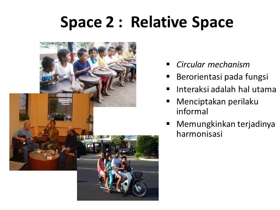 Space 2 : Relative Space  Circular mechanism  Berorientasi pada fungsi  Interaksi adalah hal utama  Menciptakan perilaku informal  Memungkinkan t