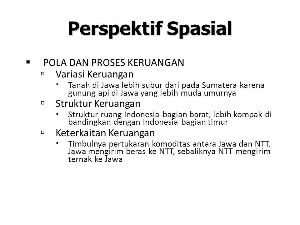 Perspektif Spasial  POLA DAN PROSES KERUANGAN  Variasi Keruangan  Tanah di Jawa lebih subur dari pada Sumatera karena gunung api di Jawa yang lebih