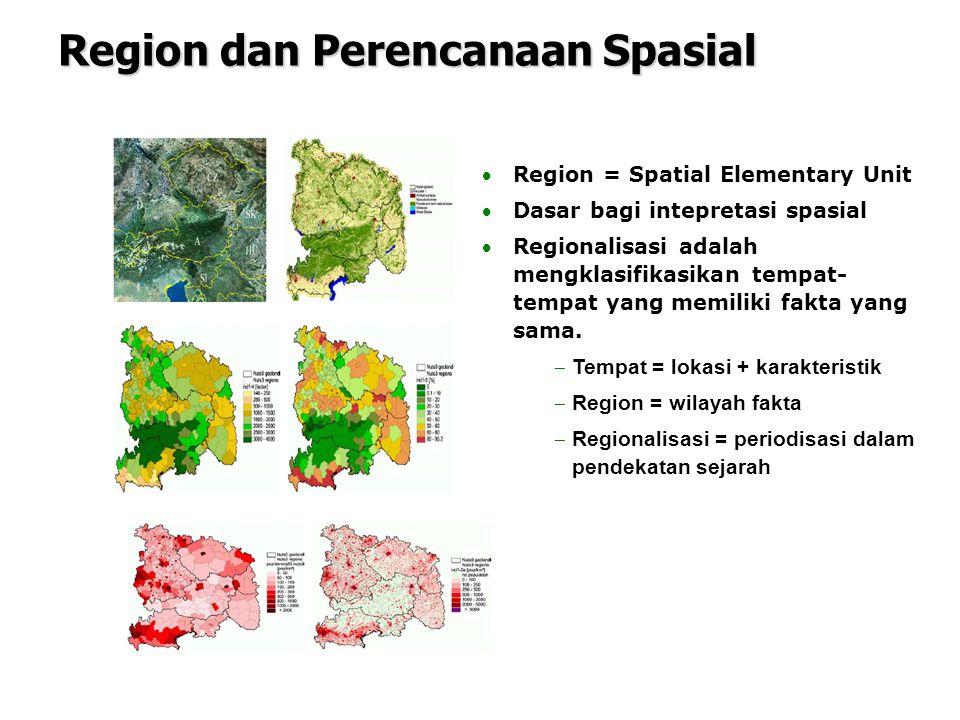 Region = Spatial Elementary Unit Dasar bagi intepretasi spasial Regionalisasi adalah mengklasifikasikan tempat- tempat yang memiliki fakta yang sam