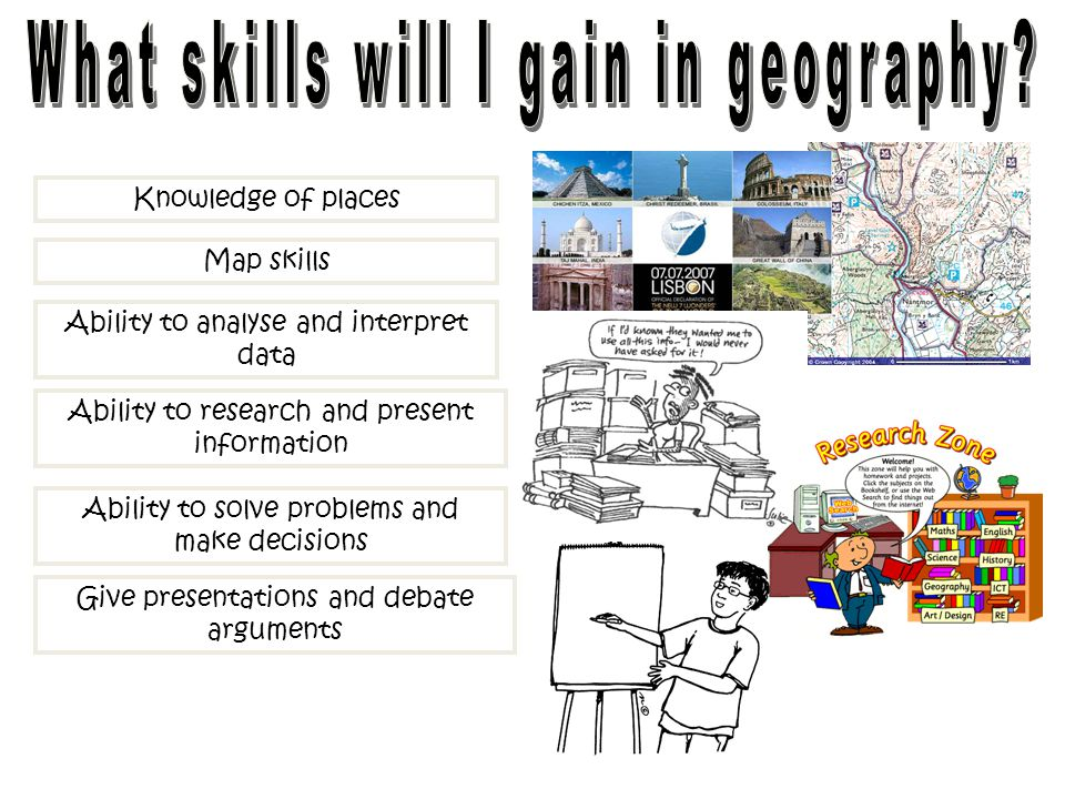 Knowledge of places Map skills Ability to analyse and interpret data Ability to research and present information Ability to solve problems and make de