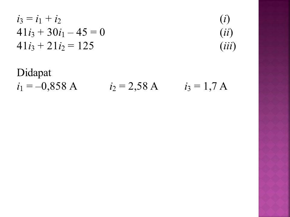 i 3 = i 1 + i 2 (i) 41i 3 + 30i 1 – 45 = 0(ii) 41i 3 + 21i 2 = 125(iii) Didapat i 1 = –0,858 A i 2 = 2,58 A i 3 = 1,7 A