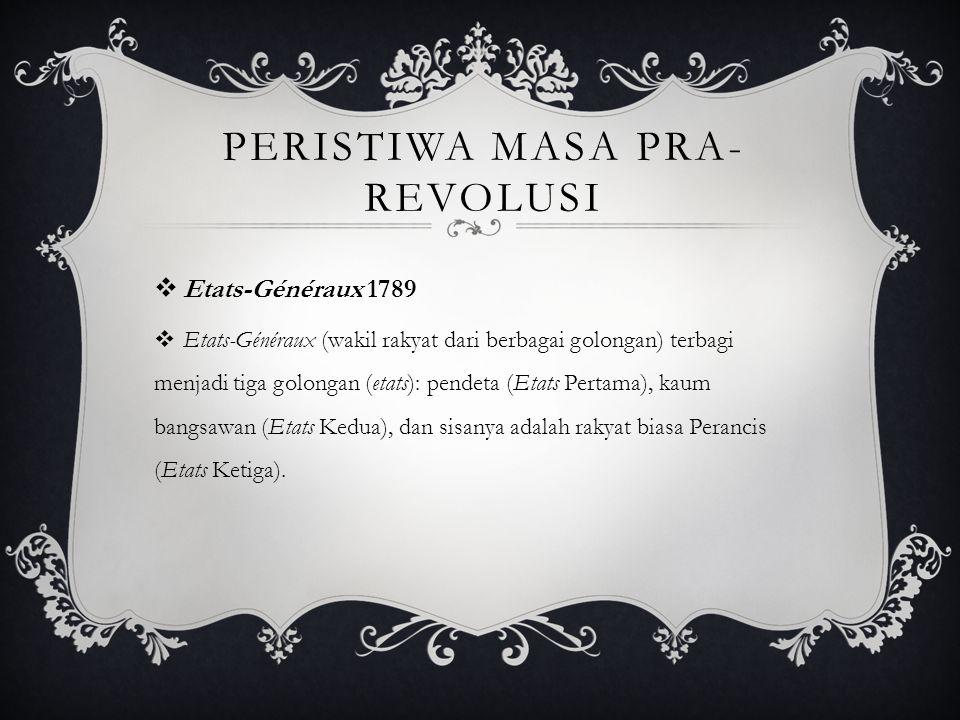 PERISTIWA MASA PRA- REVOLUSI  Etats-Généraux 1789  Etats-Généraux (wakil rakyat dari berbagai golongan) terbagi menjadi tiga golongan (etats): pende