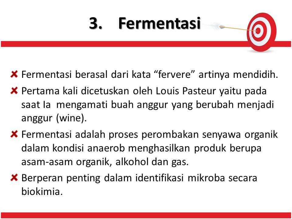 3.Fermentasi Fermentasi berasal dari kata fervere artinya mendidih.