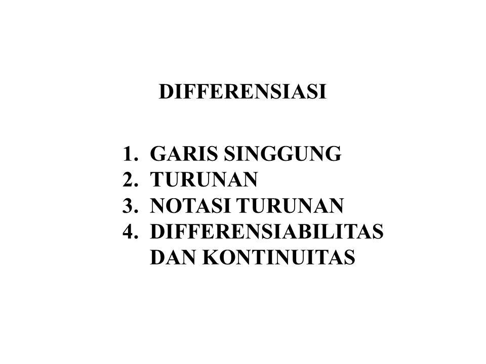 DIFFERENSIASI 1.GARIS SINGGUNG 2.TURUNAN 3.NOTASI TURUNAN 4.DIFFERENSIABILITAS DAN KONTINUITAS